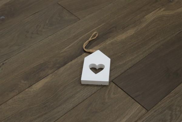 Massivholzdielen Räuchereiche, kerngeräuchert, 20 x 140 mm, Systemlängen von 500 bis 2000 mm, roh bzw. unbehandelte Oberfläche, Kanten gefast, Nut / Feder Verbindung