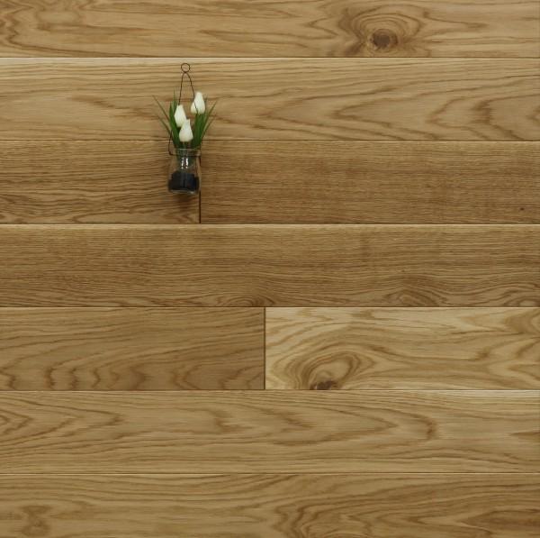Massivholzdielen Eiche, 20 x 140 mm, Langdielen von 1800 bis 2200 mm, optional in Fixlänge, mit einem Naturöl geölt, Kanten gefast, Nut / Feder Verbindung