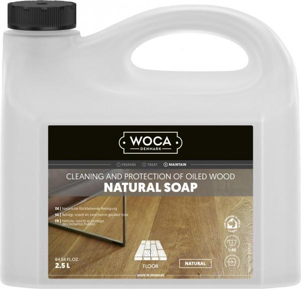 WOCA Holzbodenseife natur, zur regelmäßigen Reinigung geölter Holzböden, Kanister mit 2,5 Liter