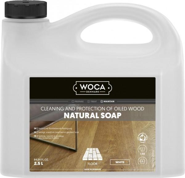 WOCA Holzbodenseife weiß, zur regelmäßigen Reinigung weiß geölter Holzböden, Kanister mit 2,5 Liter