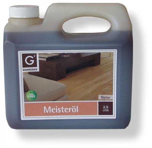 Gunreben Meisteröl natur, zur Grundbehandlung von Holzböden, Kanister mit 2,5 Liter
