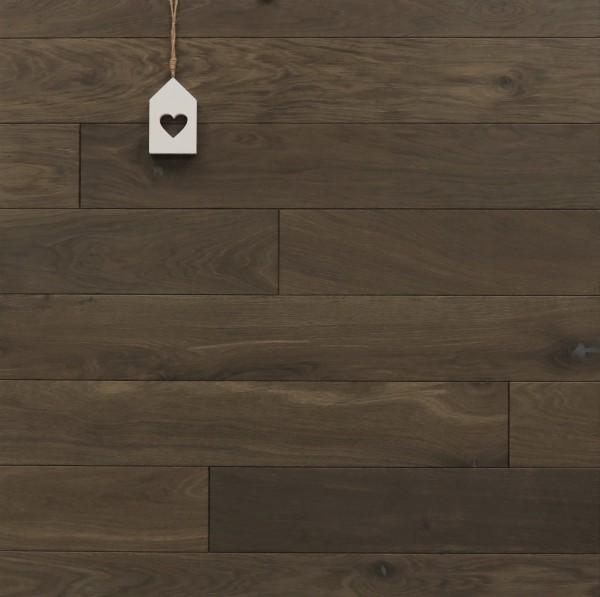 Massivholzdielen Räuchereiche, kerngeräuchert, 15 x 130 mm, Systemlängen von 400 bis 1800 mm, roh bzw. unbehandelte Oberfläche, Kanten gefast, Nut / Feder Verbindung