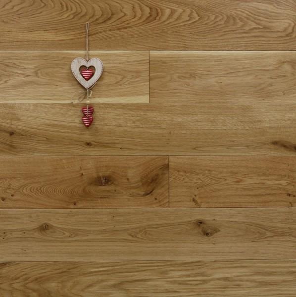 Massivholzdielen Eiche, seidenmatt lackiert, Langdielen, optional in Fixlänge, Kanten gefast, Nut / Feder Verbindung, Sonderanfertigung nach Kundenwunsch