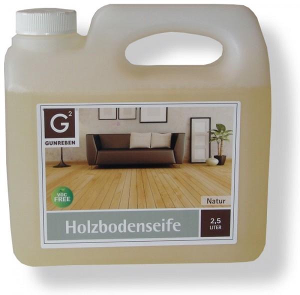 Gunreben Holzbodenseife natur, zur regelmäßigen Reinigung geölter Holzböden, Kanister mit 2,5 Liter
