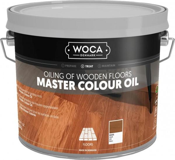 WOCA Meister Bodenöl weiß, zur Ersteinpflege weiß geölter Holzböden, Kanister mit 2,5 Liter