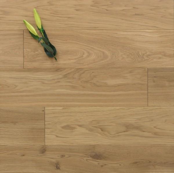 Massivholzdielen Eiche, 20 x 200 mm, Systemlängen von 500 bis 2000 mm, mit einem Naturöl leicht weiß geölt, Kanten gefast, Nut / Feder Verbindung, Sonderanfertigung nach Kundenwunsch