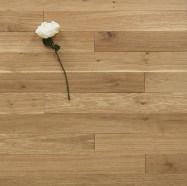 Eiche Massivholzdiele, 10 x 100 mm, Systemlängen von 400 bis 1200 mm, mit einem Naturöl mit 5 % Weißanteil geölt, Kanten gefast, Nut / Feder Verbindung, Sonderanfertigung nach Kundenwunsch