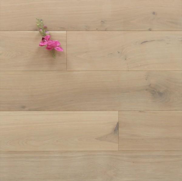 Eiche Massivholzdiele, 20 x 200 mm, Langdielen von 1800 bis 2200 mm, optional in Fixlänge, mit einem Naturöl weiß geölt, Kanten gefast, Nut / Feder Verbindung, Sonderanfertigung nach Kundenwunsch