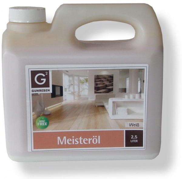 Gunreben Meisteröl weiß, zur Grundbehandlung von Holzböden, Kanister mit 2,5 Liter