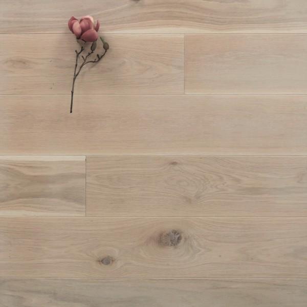 Eiche Massivholzdiele, 20 x 180 mm, Langdielen von 1800 bis 2200 mm, optional in Fixlänge, mit einem Naturöl weiß geölt, Kanten gefast, Nut / Feder Verbindung, Sonderanfertigung nach Kundenwunsch
