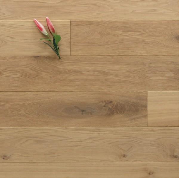 Eiche Massivholzdiele, 20 x 180 mm, Langdielen von 1800 bis 2200 mm, optional in Fixlänge, mit einem Naturöl mit 5 % Weißanteil geölt, Kanten gefast, Nut / Feder Verbindung, Sonderanfertigung nach Kundenwunsch