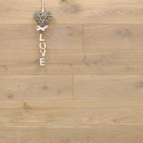 Massivholzdielen Eiche, mit Osmo Hartwachsöl 5215 weiß geölt, Langdielen, optional in Fixlänge, Kanten gefast, Nut / Feder Verbindung, Sonderanfertigung nach Kundenwunsch