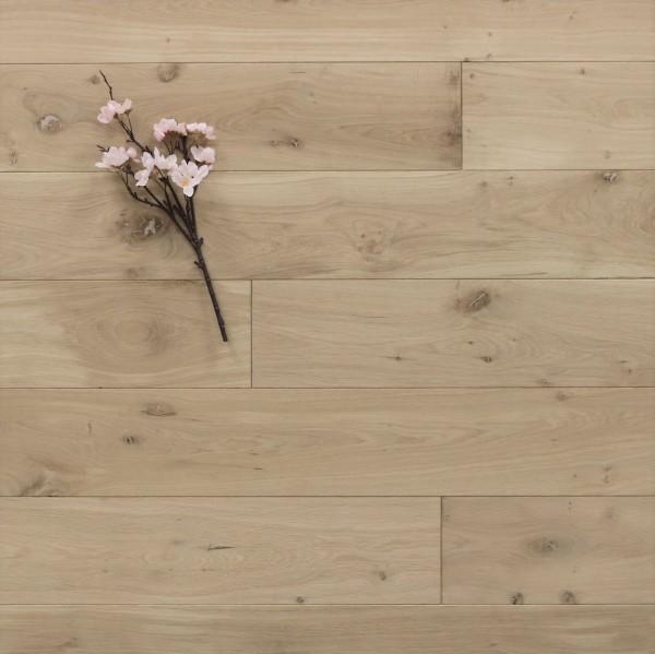 Eiche Massivholzdiele, 15 x 150 mm, Langdielen von 1800 bis 2200 mm, optional in Fixlänge, roh bzw. unbehandelte Oberfläche, Kanten gefast, Nut / Feder Verbindung, Sonderanfertigung nach Kundenwunsch