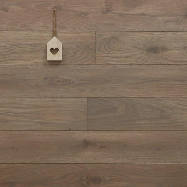 Eiche Massivholzdiele, mit Rubio Monocoat R310 gris belge grau geölt, Langdielen, optional in Fixlänge, Kanten gefast, Nut / Feder Verbindung, Sonderanfertigung nach Kundenwunsch