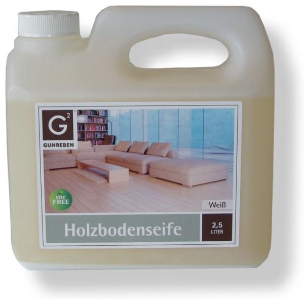 Gunreben Holzbodenseife weiß, zur regelmäßigen Reinigung weiß geölter Holzböden, Kanister mit 2,5 Liter