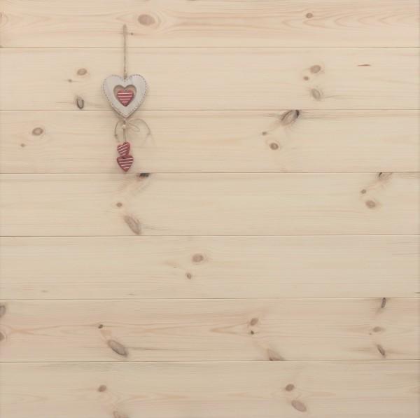 Massivholzdielen Kiefer, Markant, 27 x 182 mm, Längen von 3250 bis 5350 mm, optional in Fixlänge, Kanten gefast, Nut / Feder Verbindung