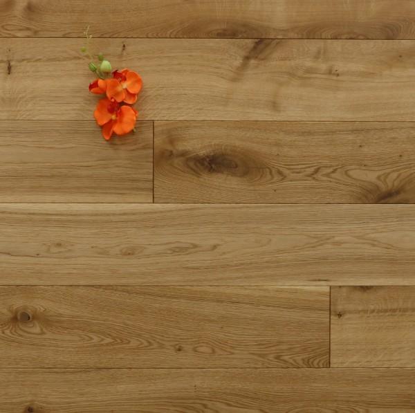 Eiche Massivholzdiele, 20 x 180 mm, Systemlängen von 500 bis 2000 mm, mit einem Naturöl geölt, Kanten gefast, Nut / Feder Verbindung, Sonderanfertigung nach Kundenwunsch