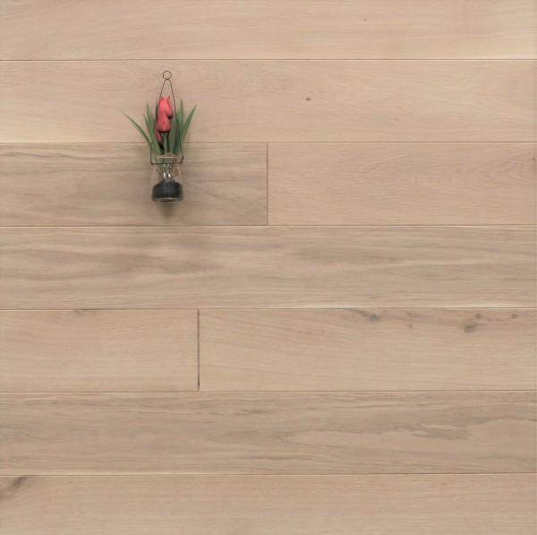 Massivholzdielen Eiche, 20 x 140 mm, Systemlängen von 500 bis 2000 mm, mit einem Naturöl weiß geölt, Kanten gefast, Nut / Feder Verbindung, Sonderanfertigung nach Kundenwunsch