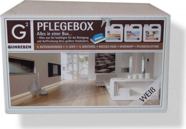 Gunreben Pflegebox weiß, Komplettpaket für weiß geölte Holzböden, Set mit je 1,0 Liter Intensivreiniger, Seife und Öl