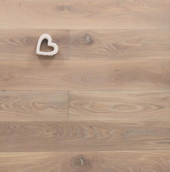 Massivholzdielen Eiche, mit Rubio Monocoat R331 weiß geölt, Langdielen, optional in Fixlänge, Kanten gefast, Nut / Feder Verbindung, Sonderanfertigung nach Kundenwunsch
