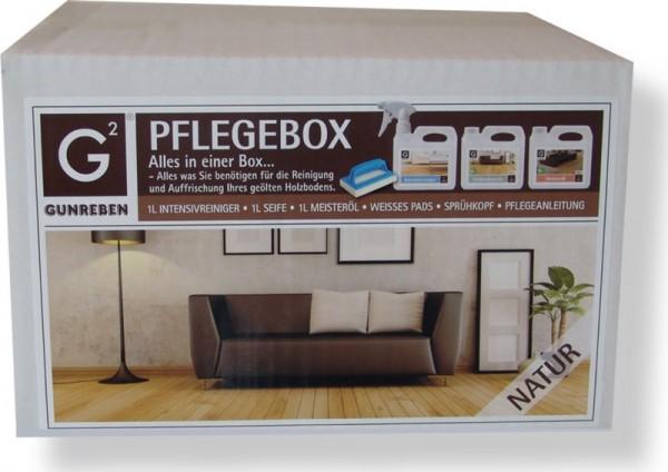 Gunreben Pflegebox natur, Komplettpaket für geölte Holzböden, Set mit je 1,0 Liter Intensivreiniger, Seife und Öl
