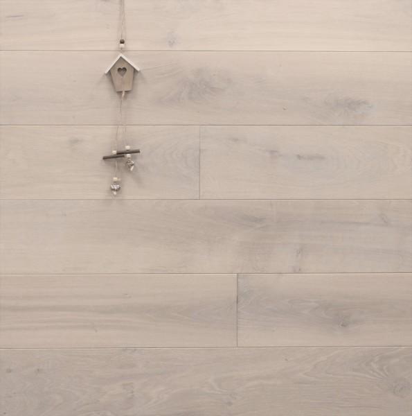 Massivholzdielen Eiche, mit Osmo Hartwachsöl 5269 extra weiß geölt, Langdielen, optional in Fixlänge, Kanten gefast, Nut / Feder Verbindung, Sonderanfertigung nach Kundenwunsch